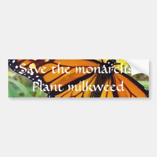 Ahorre a los monarcas, milkweed de la planta - peg etiqueta de parachoque