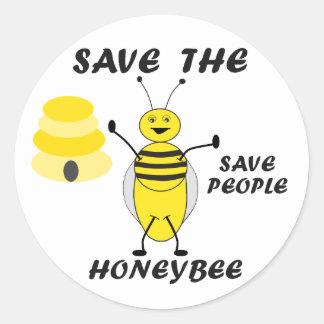 Ahorre a los pegatinas de la abeja pegatina redonda