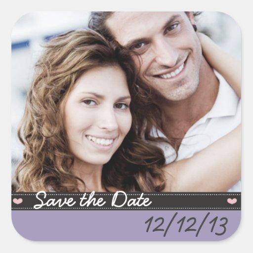 Ahorre a los pegatinas de la fecha pegatina cuadradas personalizada