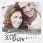 Ahorre a los pegatinas de la fecha pegatina cuadradas personalizadas
