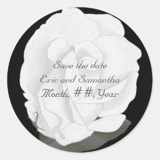 Ahorre a los pegatinas de la fecha, rosa blanco, etiqueta redonda