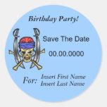 Ahorre a los pegatinas de la fiesta de cumpleaños pegatina redonda