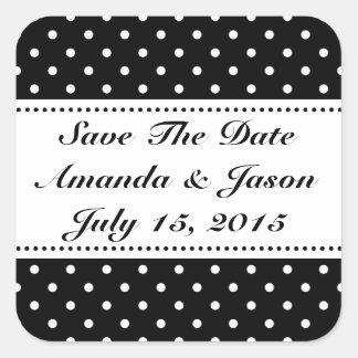 Ahorre a los pegatinas del boda de la fecha calcomania cuadradas personalizada