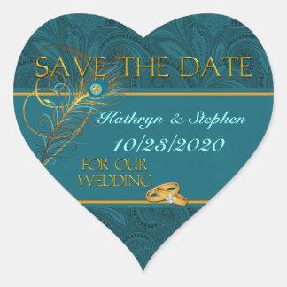 Ahorre a los pegatinas del boda del pavo real de pegatina en forma de corazón