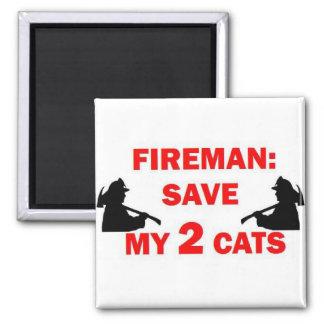 Ahorre a mi bombero de 2 gatos imán cuadrado
