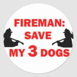 Ahorre a mi bombero de 3 perros pegatinas redondas