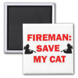 Ahorre a mi bombero del gato iman de nevera