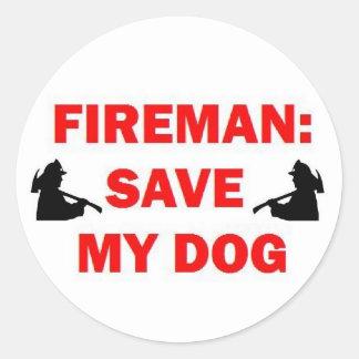 Ahorre a mi bombero del perro pegatina