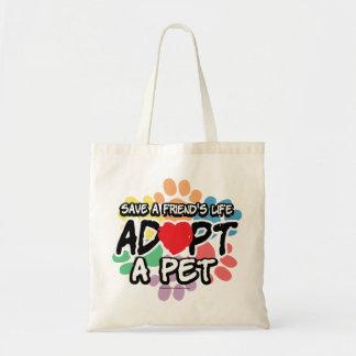 Ahorre a un amigo adoptan a un mascota bolsa
