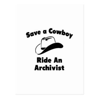 Ahorre a un vaquero. Monte a un archivista Postal
