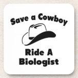 Ahorre a un vaquero. Monte a un biólogo Posavasos De Bebidas