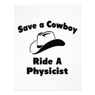 Ahorre a un vaquero. Monte a un físico Membrete Personalizado