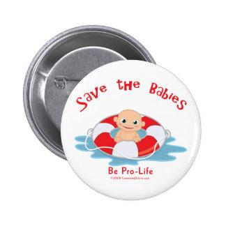 Ahorre al ahorrador antiabortista de los bebés pin redondo 5 cm