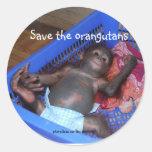 Ahorre al bebé lindo de los orangutanes pegatina redonda