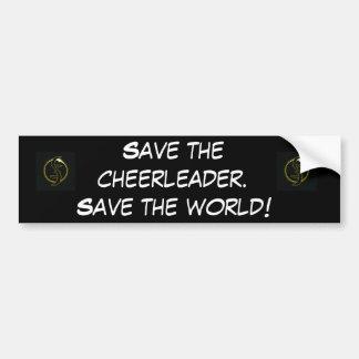 Ahorre al cheerleader. etiqueta de parachoque