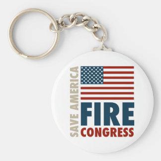 Ahorre al congreso del fuego de América Llavero Redondo Tipo Pin