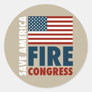 Ahorre al congreso del fuego de América Pegatina Redonda