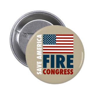 Ahorre al congreso del fuego de América Pin Redondo De 2 Pulgadas