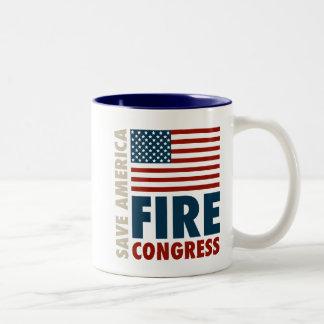 Ahorre al congreso del fuego de América Taza De Dos Tonos