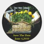 Ahorre al pegatina del boda de la flor de cesta de