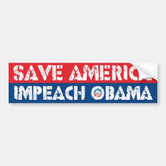 Ahorre América - acuse a Obama Pegatina De Parachoque