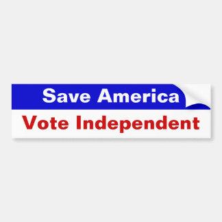 Ahorre América, independiente del voto Pegatina Para Auto