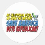 ¡Ahorre América, republicano del voto! Pegatinas Redondas