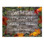 Ahorre casarse de madera rústico de las hojas de tarjeta postal