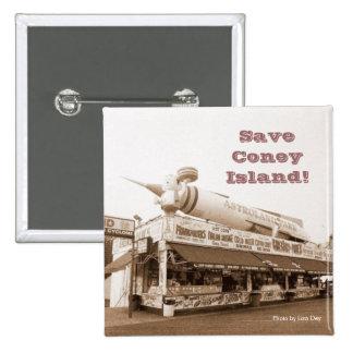 ¡Ahorre Coney Island! Ajuste el botón (la sepia)