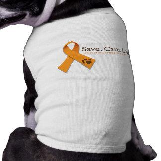 Ahorre. Cuidado. Amor. Camiseta anaranjada del per Playera Sin Mangas Para Perro