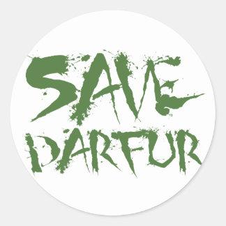 Ahorre Darfur 3 Pegatina Redonda