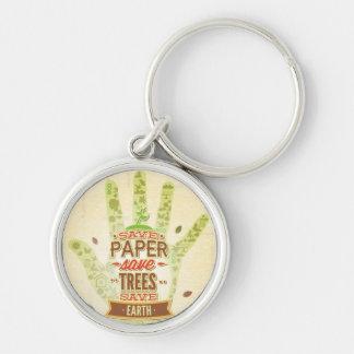 Ahorre de papel, árboles de la reserva llavero personalizado