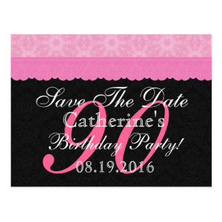 Ahorre el 90.o cordón rosado y negro del tarjetas postales