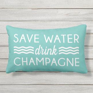 Ahorre el agua, bebida Champán Cojín Lumbar