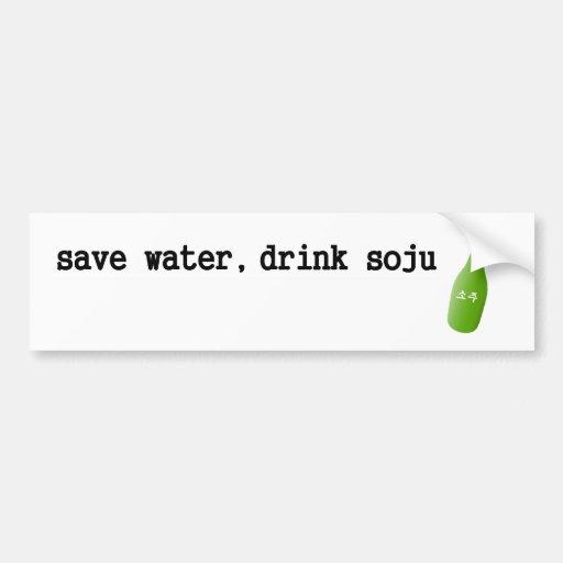 ¡Ahorre el agua, bebida Soju! Pegatina De Parachoque