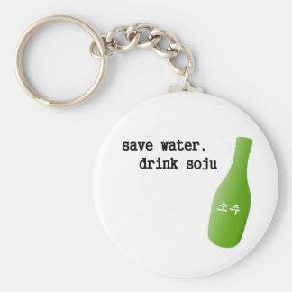¡Ahorre el agua, bebida Soju! Llavero Redondo Tipo Pin