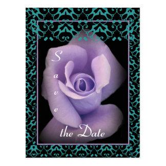 Ahorre el ajuste color de rosa púrpura del cordón  tarjetas postales