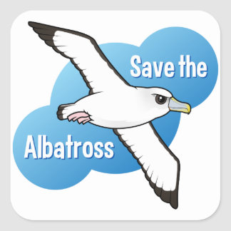 Ahorre el albatros (el vuelo) pegatina cuadrada