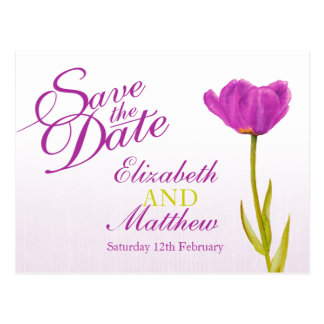 Ahorre el arte púrpura del tulipán de la postal de
