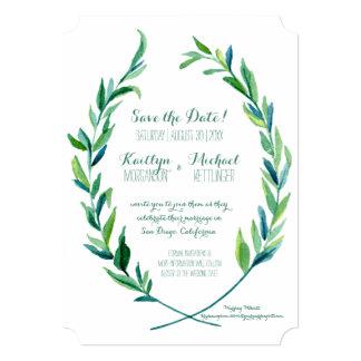 """Ahorre el arte verde oliva de la rama de la hoja invitación 5"""" x 7"""""""