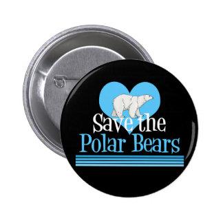 Ahorre el azul negro lindo de los osos polares pin redondo de 2 pulgadas