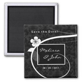 Ahorre el blanco floral de encargo del negro del imán cuadrado