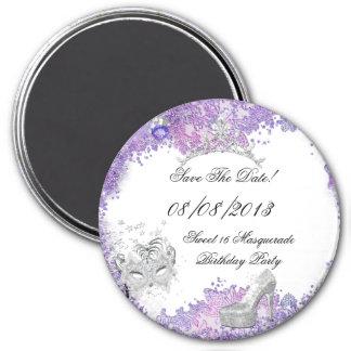 Ahorre el blanco púrpura 2 de la mascarada del imán redondo 7 cm