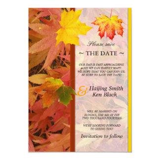 """Ahorre el boda de la caída de las hojas de arce de invitación 5"""" x 7"""""""
