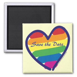 Ahorre el boda de la fecha/del arco iris/el orgull imán cuadrado