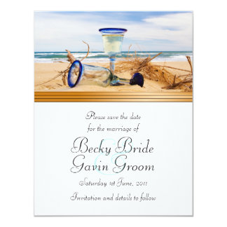 """Ahorre el boda de playa de la tarjeta de fecha invitación 4.25"""" x 5.5"""""""