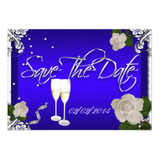 Ahorre el boda del aniversario del azul real de la invitaciones personalizada