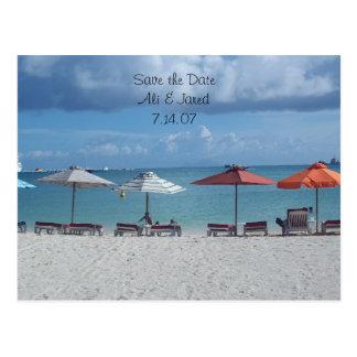 Ahorre el boda del destino de la playa de la fecha tarjetas postales