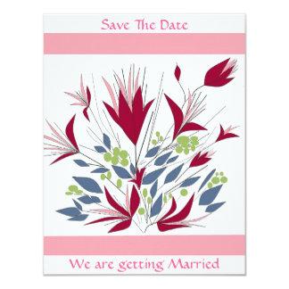 """Ahorre el boda floral de la fecha inmóvil invitación 4.25"""" x 5.5"""""""