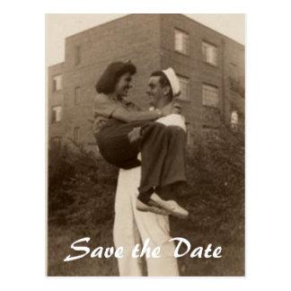 Ahorre el boda militar de la fecha tarjetas postales